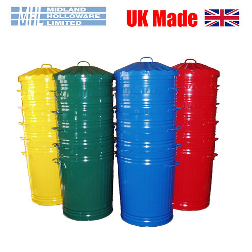 18in Tapered Powder Coated Dustbin & Lid (90L)