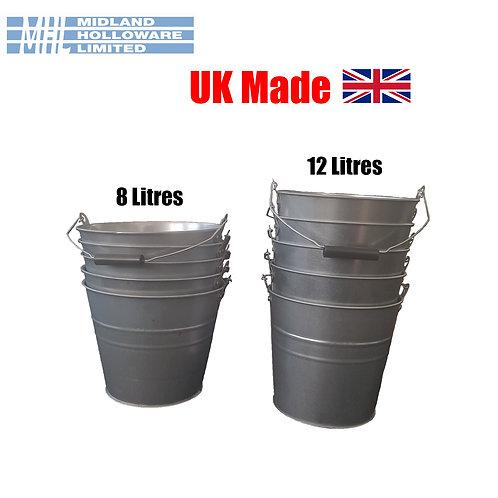 Bucket Galvanised Metal Heavy Duty Water *Stack of 5 Buckets* *2 Sizes*