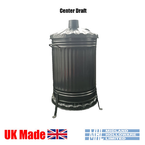 18in Center Draft Incinerator Bin Galvanised Waste Burner & Rubbish