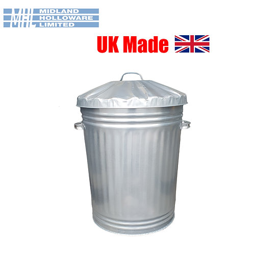 18in Galvanized Dustbin Tapered Animal Feed Storage Waste Rubbish