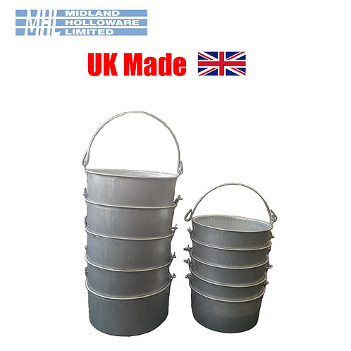 Metal Paint Pots (Decorators)(Galvanised) (Stack of 5) *Heavy Duty* *2 Sizes*