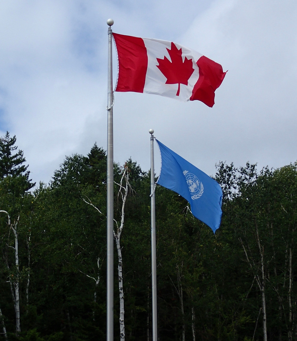 Canadian and UN flags