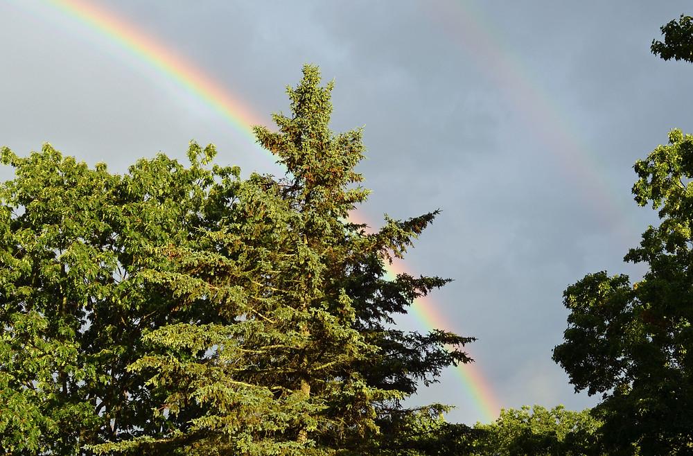 Double rainbow, right arch