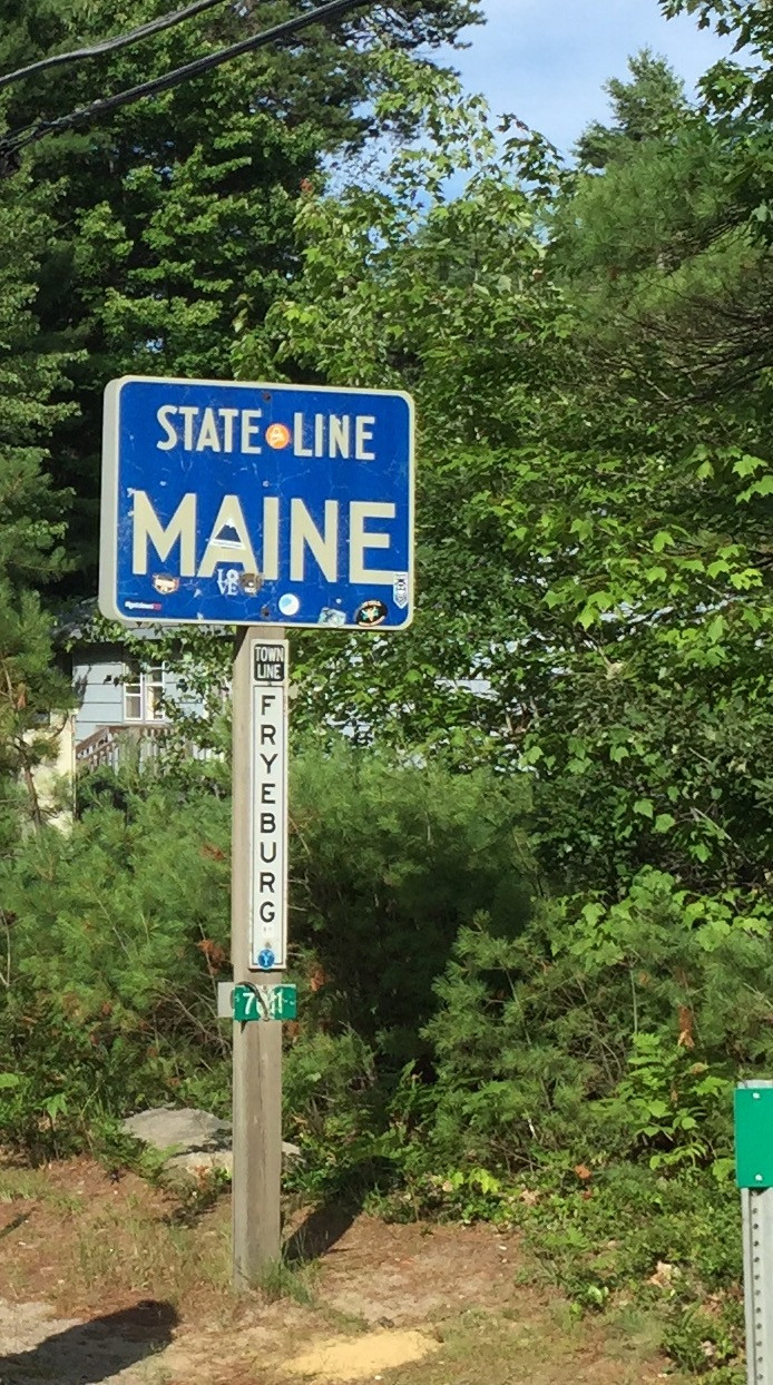 Maine State Line Sign