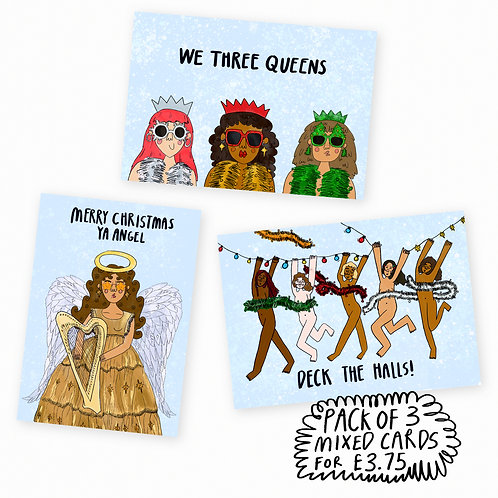 FESTIVE CARDS PACK OF 3