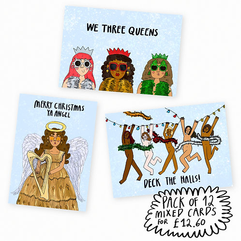 FESTIVE CARDS PACK OF 12