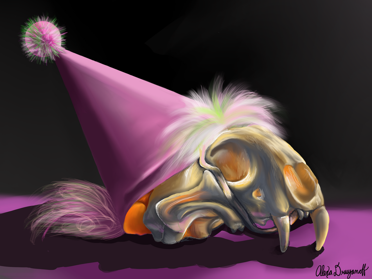 Animal Skull with Pink Party Hat