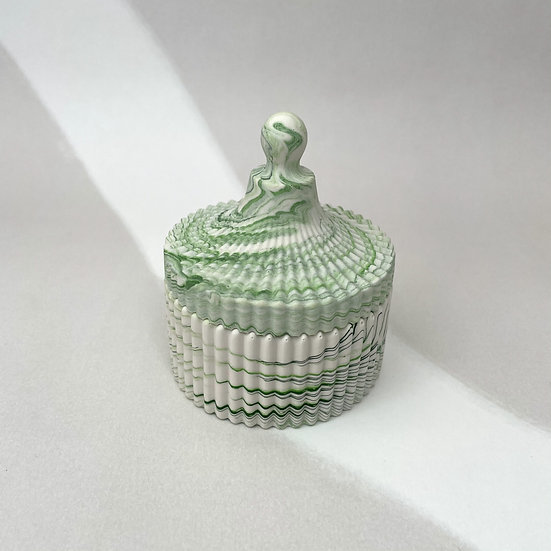 Trinket Dish With Lid- Green Marble