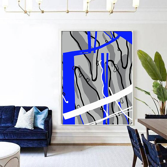 Blue/Grey Abstract Art Print