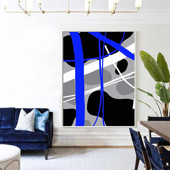 Blue/Grey/ Black Abstract Print