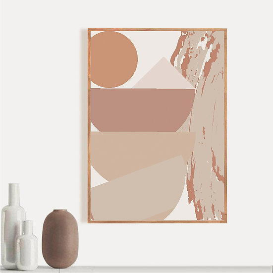Beige Abstract Tower Print