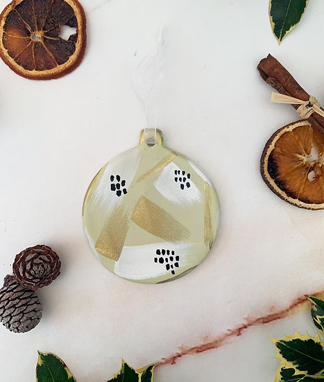 Hand Painted Gold Clay Bauble