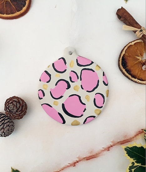 Hand Painted Pink Clay Bauble