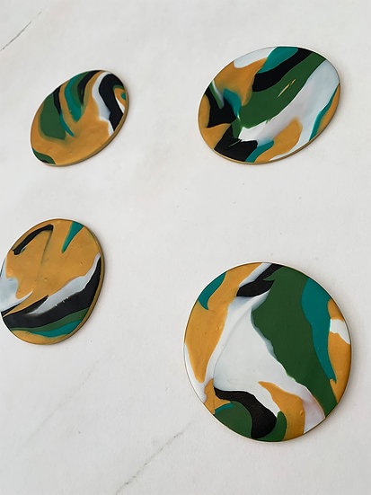 Green/ Gold Marble Coasters