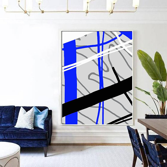 Blue Abstract Print