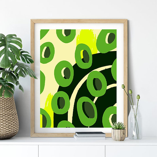 Green Abstract O Print