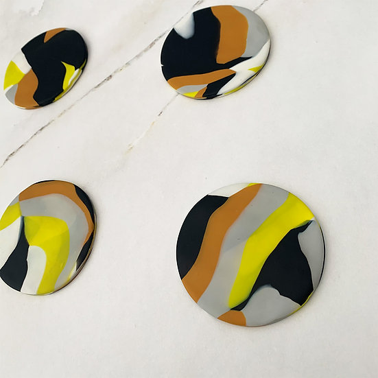 Yellow Marble Clay Coasters