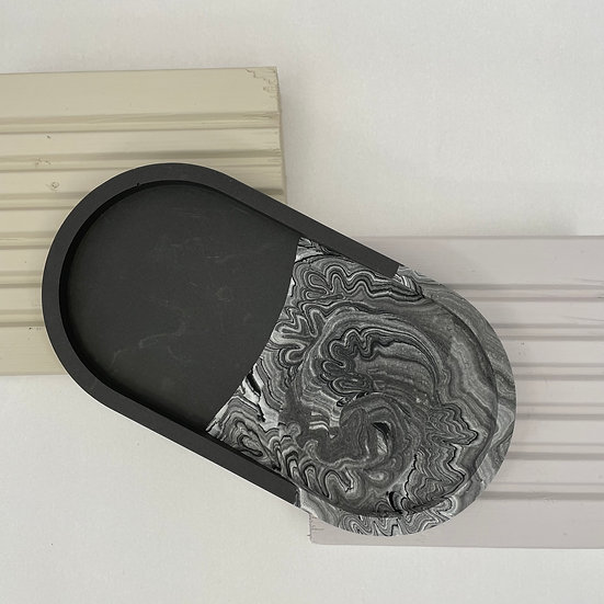 Black and White Swirl Trinket Dish