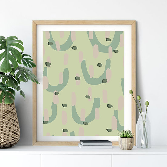 Light Green Abstract U Print