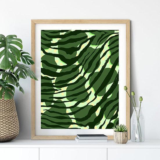 Green Leopard Line Print