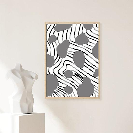 Black/Grey Abstract Print