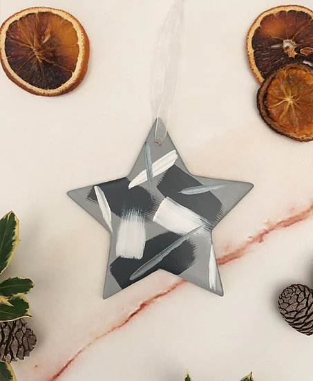 Hand Painted Grey Star Ornament