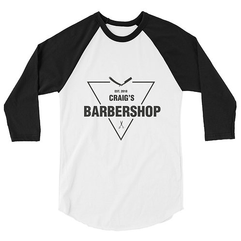 Craig's Barber Shop 3/4 sleeve baseball shirt