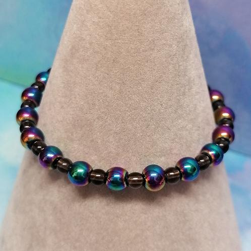 Rainbow haematite and smoky quartz bracelet