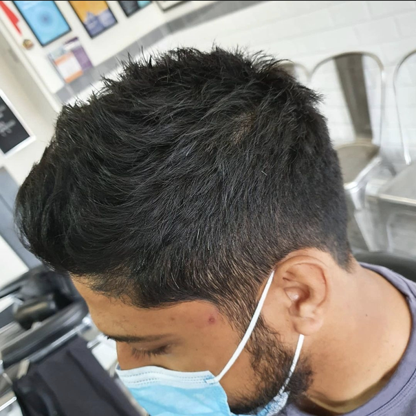 Grade 2 Back and Sides, Cut Short and Textured on Top