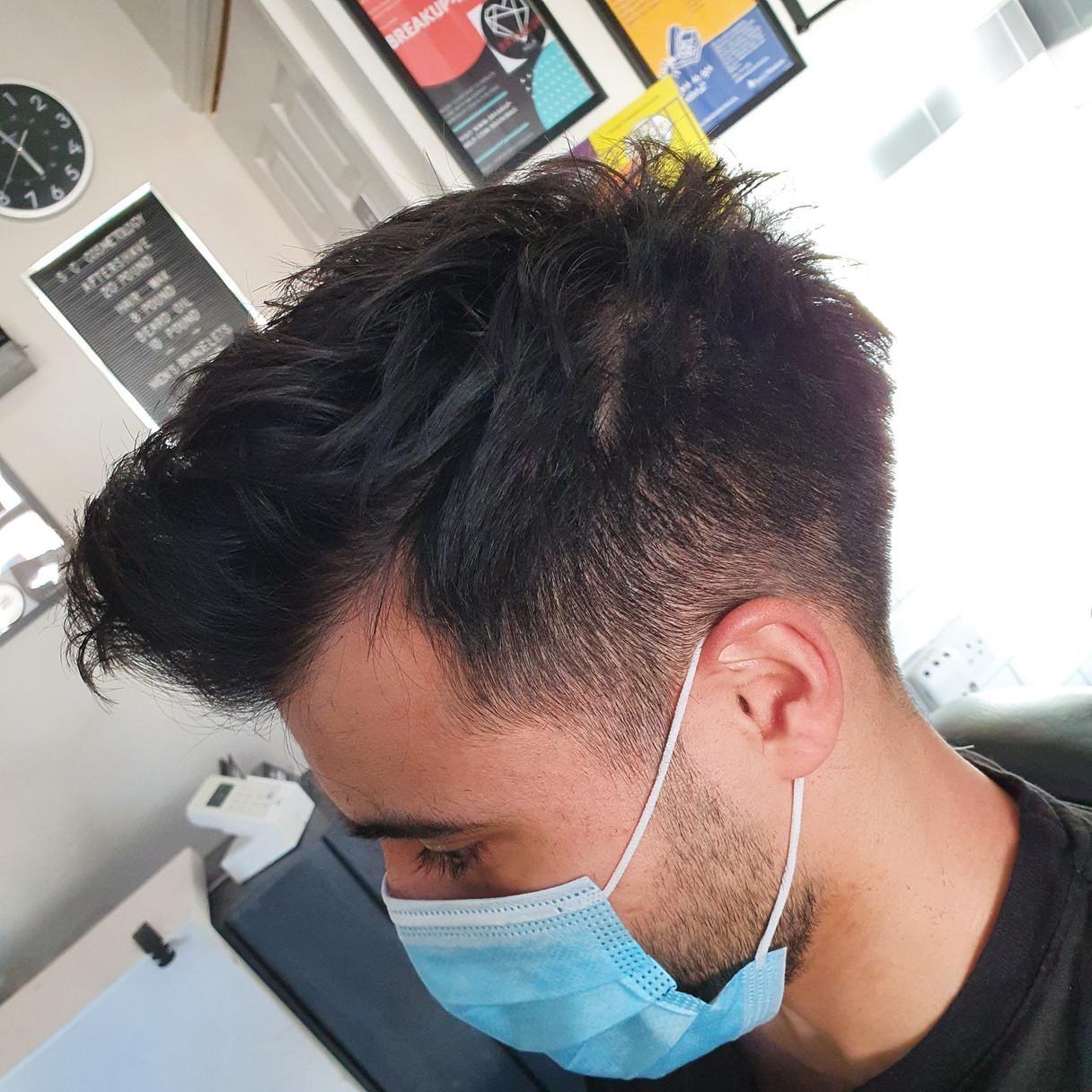 scissor cut to grade 1 and texured razor cut