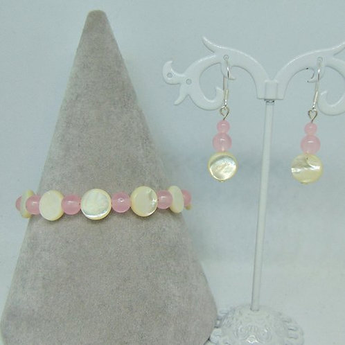 Mother Of Pearl And Rose Quartz Set