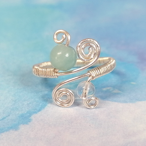 Amazonite and clear quartz adjustable ring