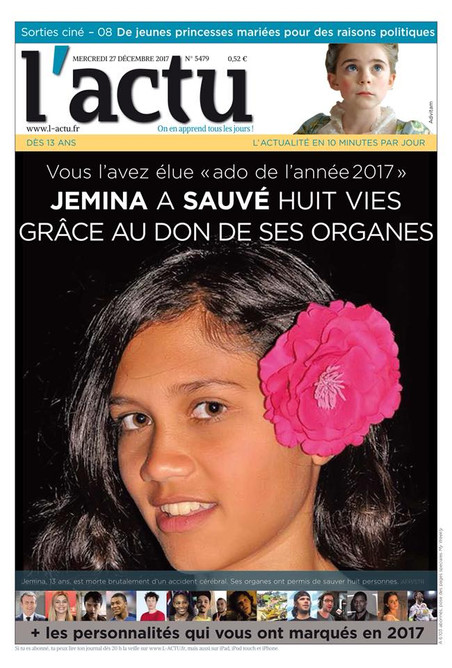 Young Readers of L'Actu Vote Jemima As Most Inspiring Teen of 2017