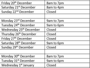 Christmas 2019 Opening Hours