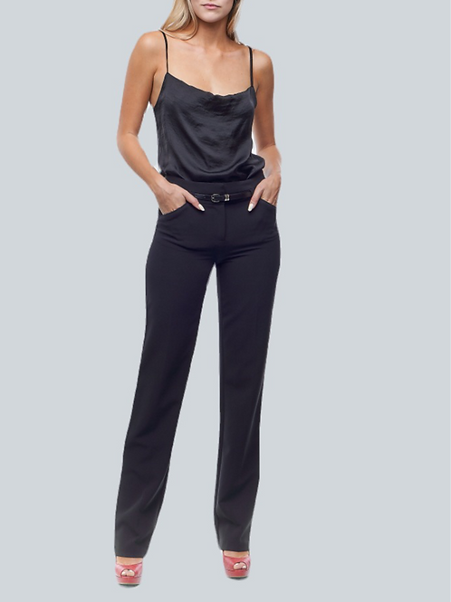 Zoom Worthy Straight Leg Pants with Belt