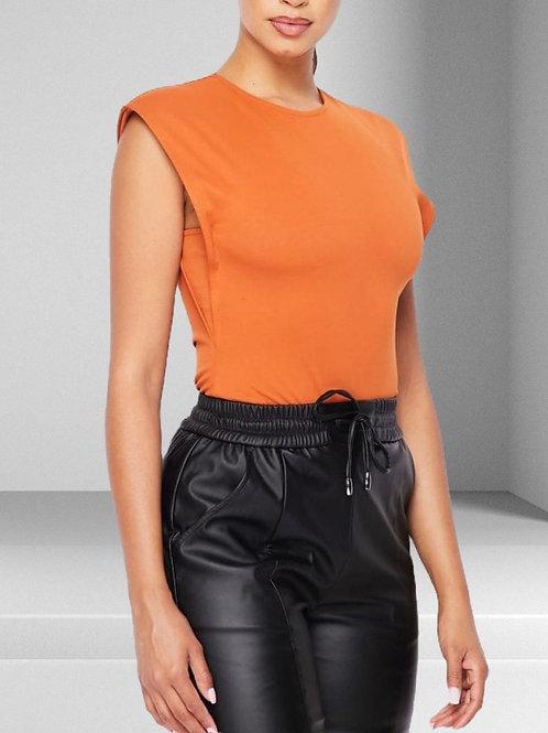 Orange is the New Black Padded Shoulder Sleeveless Bodysuit