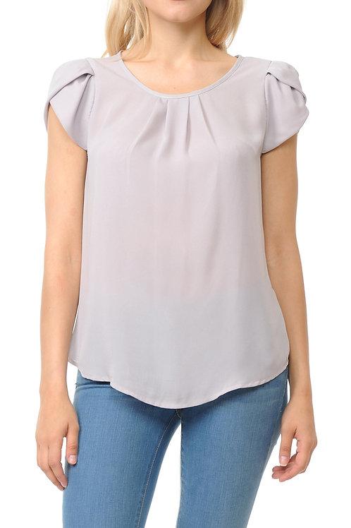 Petal Short Sleeve Pleated Woven Top
