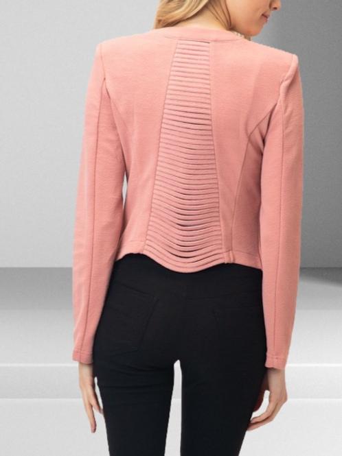 Classic Edge Zipper Detail Collar Knit Jacket