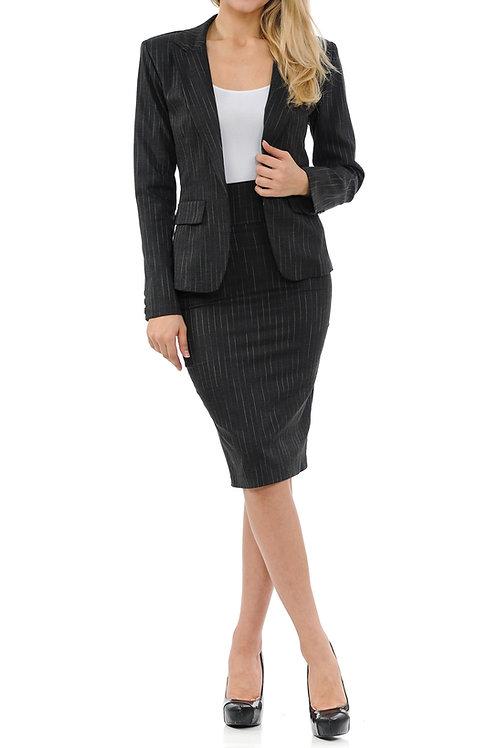 Gretchen Two-Piece Long-Sleeve Blazer Skirt Set
