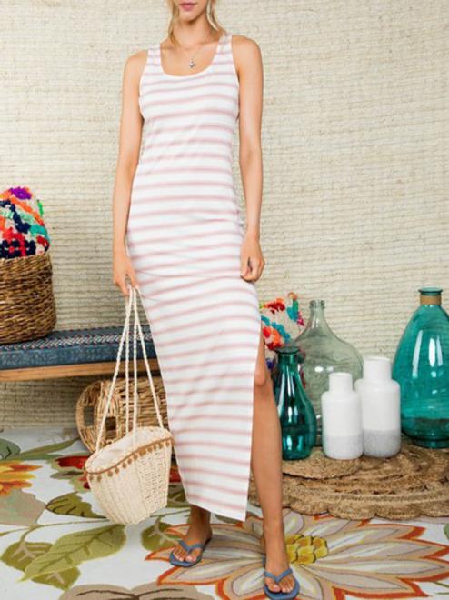 Peak of Sexy Open Back Wrap Stripe Print Maxi Dress