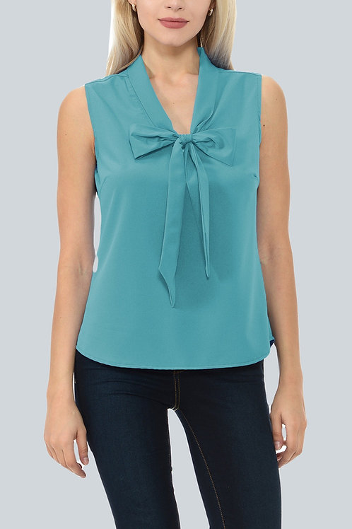 Workweek Chic Sleeveless Tie Front Top