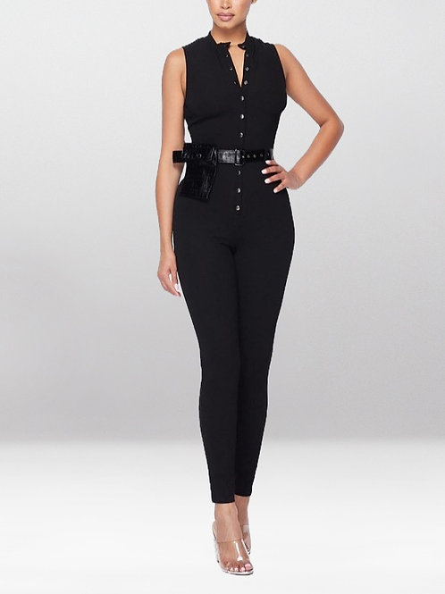Sexy Secret in My Pocket Button-Up Sleeveless Jumpsuit