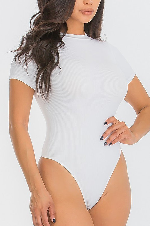 Monica Round Neck Fitted Ribbed Bodysuit