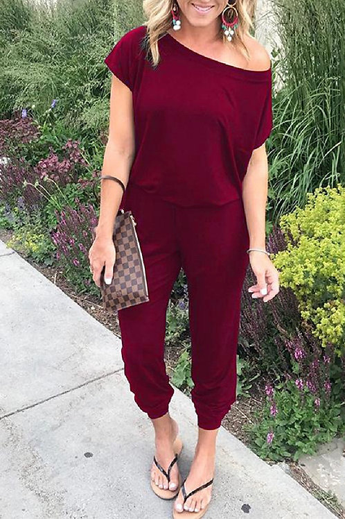 Maroon Moves Casual Off Shoulder Jumpsuit