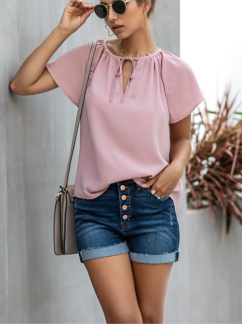 Make Me Blush Solid Short Sleeve Casual Top