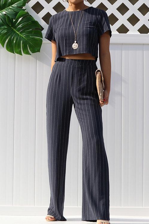 Dahlia Linen Short-Sleeve Crop Top Pant Set