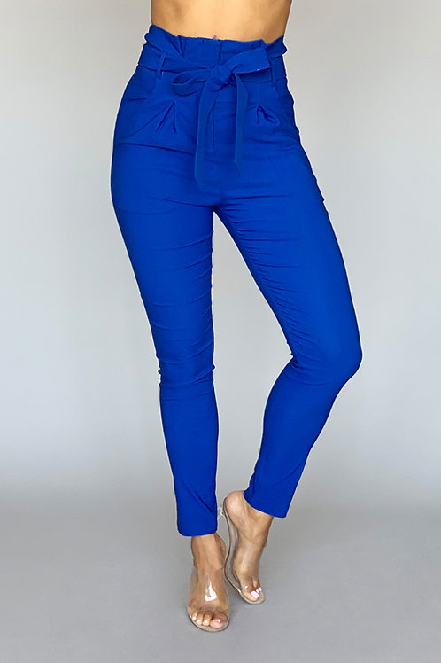 Andrea High-Waisted Pleated and Belted Fitted Pants