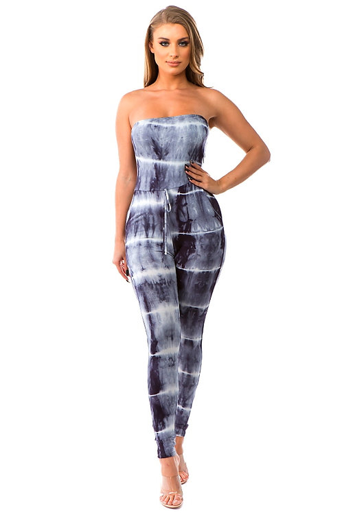 Brittany Tie-Dye Fitted Jumpsuit with Pockets