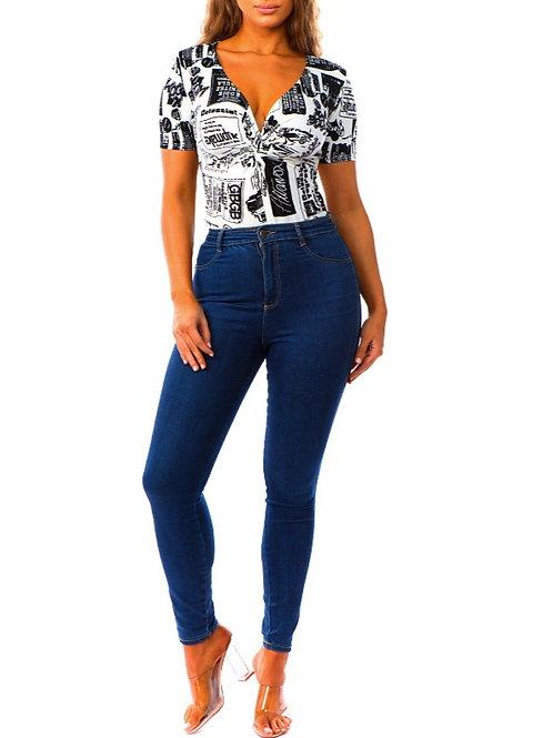 Tammy Print Short-Sleeve Bodysuit