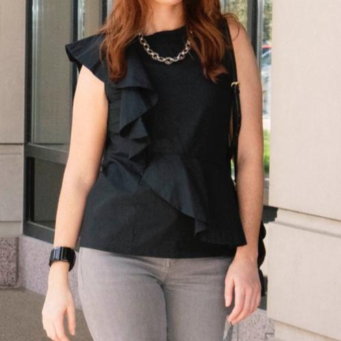 Bethany Sleeveless One-Side Ruffle Top